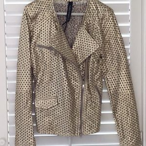 Giorgio Brato leather perforated gold NWT with bag